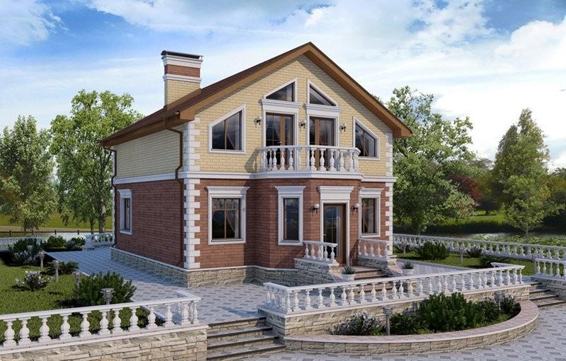 Проект дома из блоков с мансардой в классическом стиле D-120